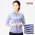 粗蓝条长袖女V领V6708