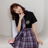 JK金熊女短袖黑色平纹