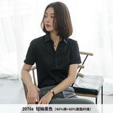 黑色平纹方领短袖女衬衫20706